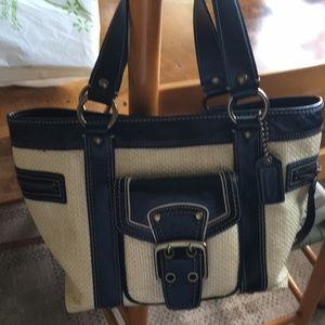 Coach Natural Straw & Leather Medium Tote